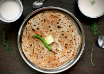 Aloo Paratha with Ghee / Butter and a Spiced Lassi