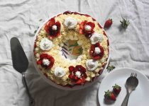 Eggless and Whole Wheat Strawberry Cake with Buttercream Frosting